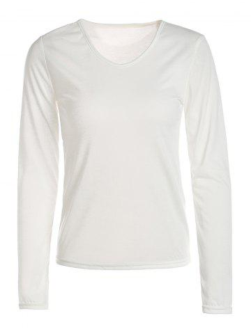 Unique Stylish V-Neck Long Sleeves Solid Color Slimming T-Shirt For Women - S WHITE Mobile