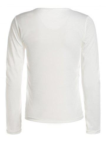 Fashion Stylish V-Neck Long Sleeves Solid Color Slimming T-Shirt For Women - S WHITE Mobile