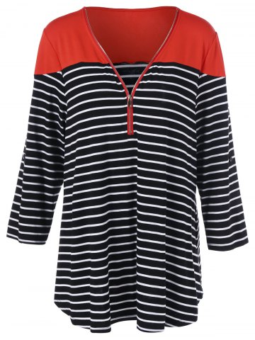 Plus Size Half Zip Striped T-Shirt - Red With Black - 3xl