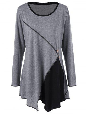 Latest Plus Size Two Tone Asymmetric Tunic T-Shirt BLACK AND GREY 5XL