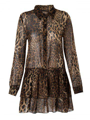 Shirt Collar Long Sleeve Leopard Print Multi-Layered Dress - Leopard - M