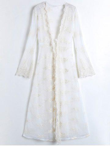 Lace Plunge Sheer Long Wrap Dress with Sleeves - White - One Size(fit Size Xs To M)