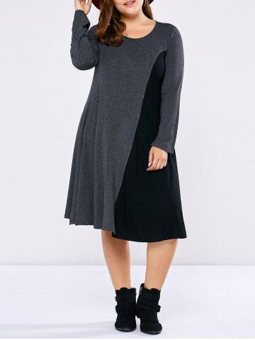 Plus Size Long Sleeve Two Tone Casual Dress - Black And Grey - 4xl