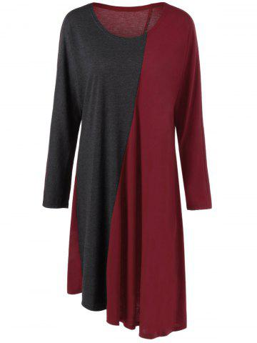 Hot Plus Size Long Sleeve Asymmetrical Two Tone Casual Dress RED WITH BLACK 3XL