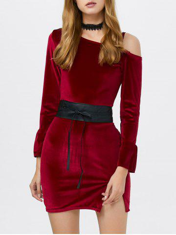 Outfit Cold Shoulder Velvet Mini Dress WINE RED ONE SIZE