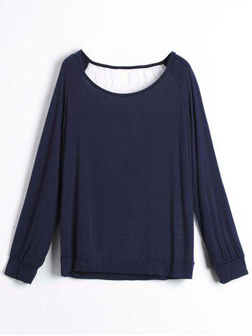 Outfits Sweet Hollow Out Lace Spliced Long Sleeve Pullover Sweatshirt For Women - M PURPLISH BLUE Mobile