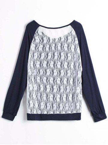 New Sweet Hollow Out Lace Spliced Long Sleeve Pullover Sweatshirt For Women - M PURPLISH BLUE Mobile
