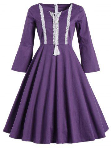 Unique Bell Sleeve Front Tie Full Dress - M PURPLE Mobile