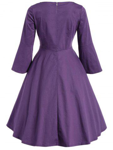 Latest Bell Sleeve Front Tie Full Dress - L PURPLE Mobile