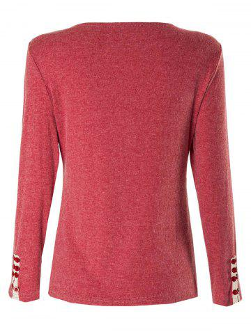 Shops Casual V-Neck Long Sleeve Button Design Women's T-Shirt - ONE SIZE(FIT SIZE XS TO M) CLARET Mobile