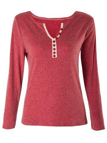 Fashion Casual V-Neck Long Sleeve Button Design Women's T-Shirt - ONE SIZE(FIT SIZE XS TO M) CLARET Mobile