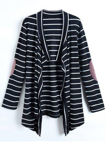 Store Casual Collarless Striped Long Sleeve Cardigan For Women COLORMIX M