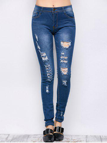 New Mid Rise Ripped Skinny Jeans - S BLUE Mobile