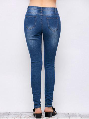 Shop Mid Rise Ripped Skinny Jeans - S BLUE Mobile