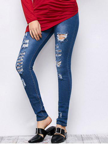 Affordable Mid Rise Ripped Skinny Jeans BLUE S