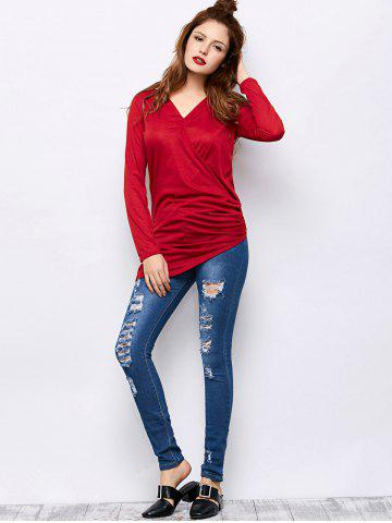 Hot Mid Rise Ripped Skinny Jeans - S BLUE Mobile