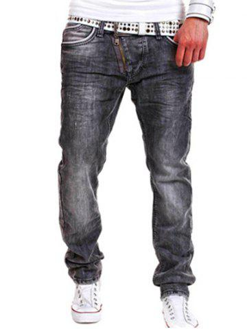 Oblique Zipper Fly Bleach Wash Jeans Gris 36