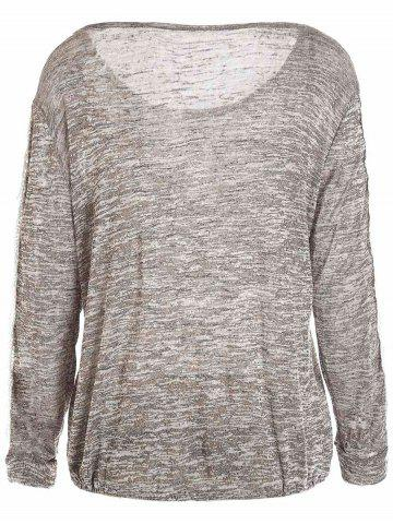 Online Casual Style Scoop Neck Long Sleeve Spliced Color Block Women's T-Shirt - S GRAY Mobile