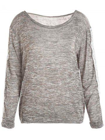 Buy Casual Style Scoop Neck Long Sleeve Spliced Color Block Women's T-Shirt - XL GRAY Mobile