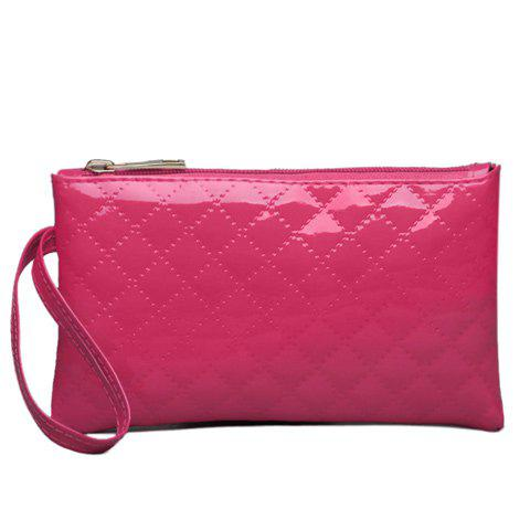 Best Patent Leather Rhombic Wristlet ROSE RED