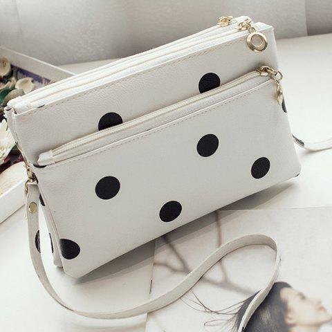 New Polka Dot Multi Zips Cross Body Bag