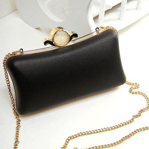 Latest PU Leather Metal Trimmed Evening Bag BLACK