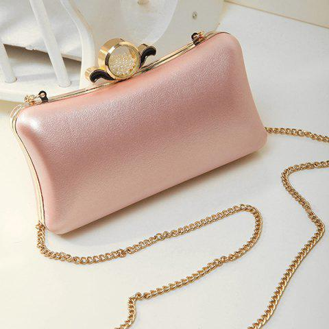 Fancy PU Leather Metal Trimmed Evening Bag PINK