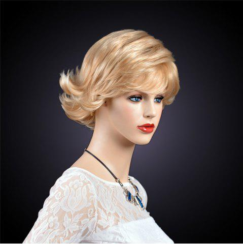 New Short Inclined Bang Layered Tail Upwards Synthetic Wig - GOLDEN  Mobile