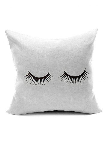 Shops Concise Eyelash Pattern Throw Cover Pillow Case WHITE