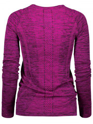 Buy Space Dye Long Sleeve Running Top - M PURPLISH RED Mobile
