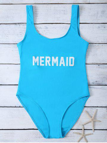 Affordable High Leg One Piece Swimsuit LAKE BLUE M