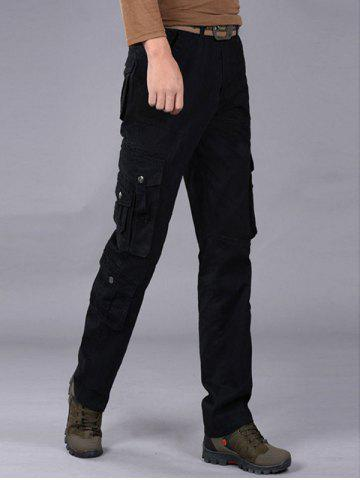 Black multi pockets zipper fly cargo pants for Travel shirts with zipper pockets