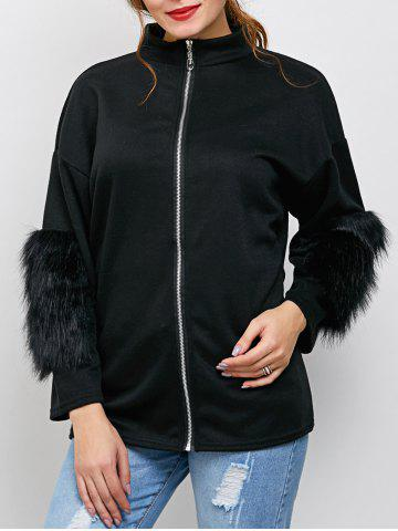 Online Zipper Faux Fur Drop Shoulder Jacket - L BLACK Mobile