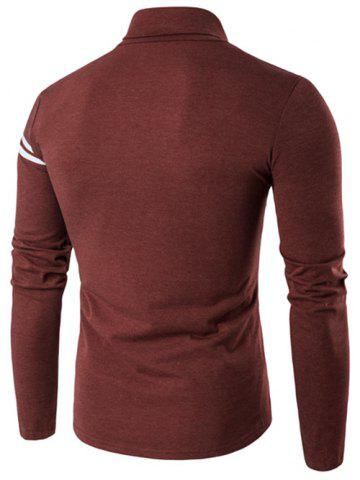 Cheap Roll Neck Varsity Stripe Long Sleeve T-Shirt - L OXIDE RED Mobile