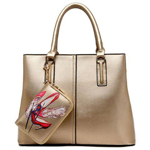 Buy Stitching Handbag with Small Wallet GOLDEN