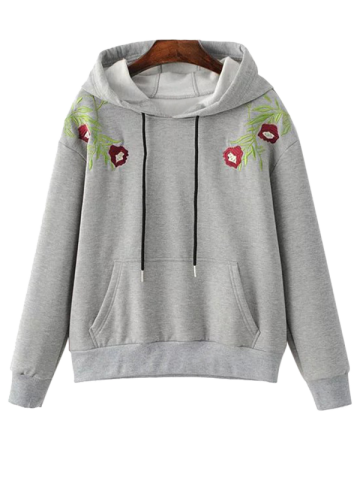 Fancy Flower Embroidered Drawstring Hoodie