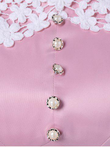 Online Plus Size Lace Panel Beaded Skater Dress - XL PINK Mobile