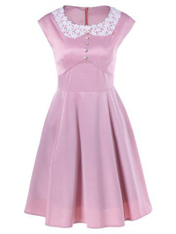 Best Plus Size Lace Panel Beaded Skater Dress PINK XL