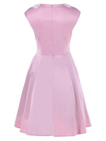 Shops Plus Size Lace Panel Beaded Skater Dress - XL PINK Mobile