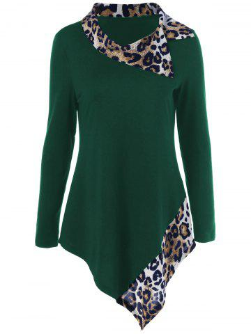 Leopard Panel Asymmetrical T-Shirt - Green - L