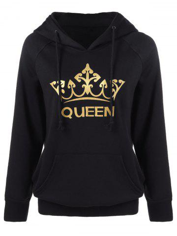 Shop Crown Print Kangaroo Pocket Hoodie - M BLACK Mobile
