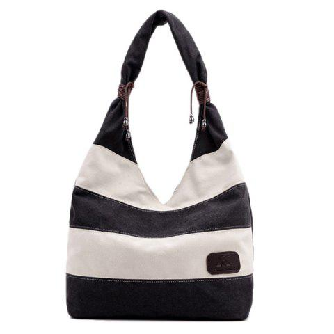 Outfits Casual Canvas Striped Shoulder Bag BLACK