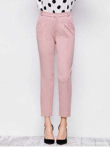 Elastic Waist Ninth Pants with Double Pocket - Pink - S