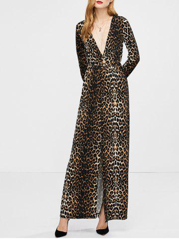 Outfit High Slit Long Sleeve Leopard Maxi Carpet Dress - S LEOPARD Mobile