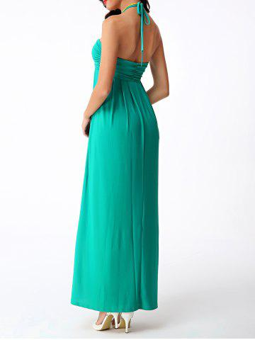 Outfits Halter Neck Long Empire Waist Prom Dress - L GREEN Mobile