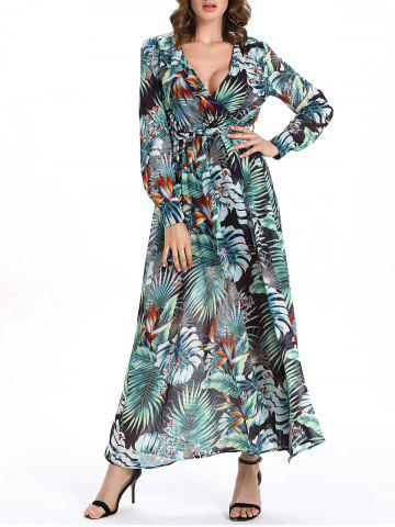 Outfit Plunging Neck Leaf Hawaiian Print Maxi Dress - 2XL GREEN Mobile