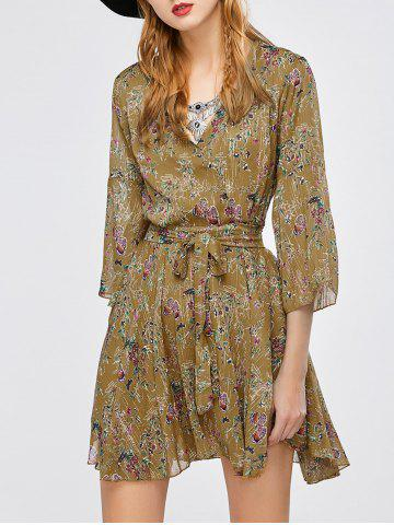 Fancy Bell Sleeve Printed Wrap Dress - ONE SIZE FLAXEN Mobile
