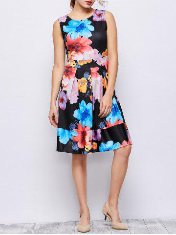 Discount Sleeveless Floral Print Knee Length Dress - L FLORAL Mobile