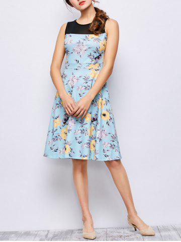 Chic Sleeveless Floral Knee Length Dress - L FLORAL Mobile