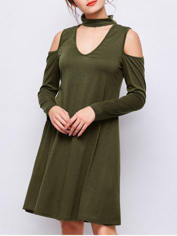Store Cold Shoulder Cut Out A Line Club Dress - M OLIVE GREEN Mobile